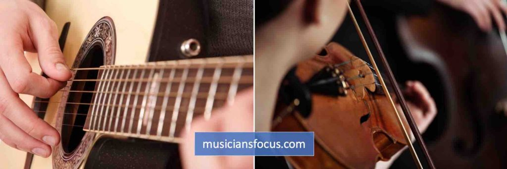 Comparing guitar playing with violin playing