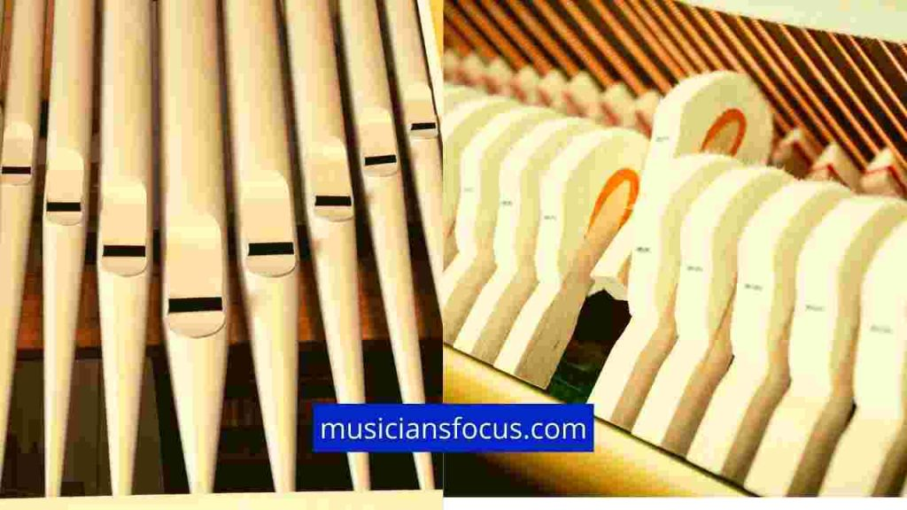 Comparing how piano and organs make sound